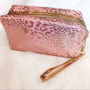 Other - Pink & Gold Leopard Print Cosmetics Bag